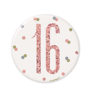 Rose Gold 16th Birthday Badge