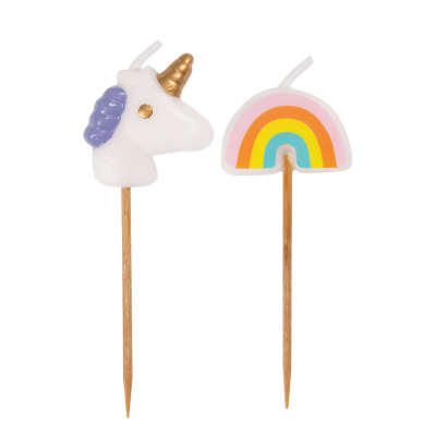 Unicorn & Rainbow Pick Birthday Candles - Assorted 6ct