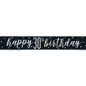 "Black & Silver Foil Banner ""Happy 30th Birthday"""
