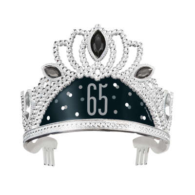 Black & Silver 65th Birthday Plastic Tiara