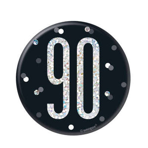 Black & Silver 90th Birthday Badge