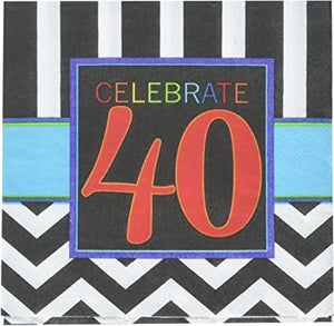 Classic 40th Birthday Party Beverage Napkins