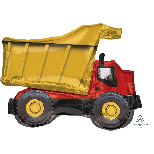 Construction Dump Truck Birthday Party Supershape Foil Balloon Packaged