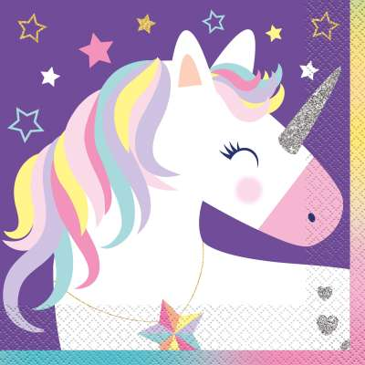 Unicorn Birthday Party Luncheon Napkins 16ct