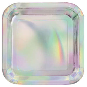 "Iridescent Square 9"" Dinner Plates 8ct"