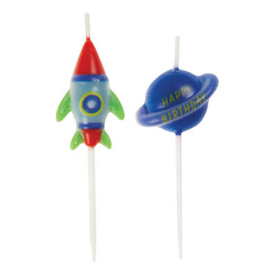 Outer Space Birthday Party Pick Candles 6ct