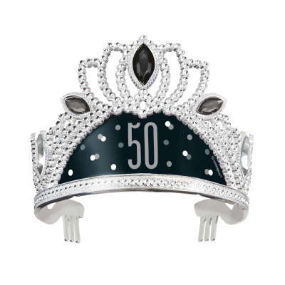 Black & Silver 50th Birthday Plastic Tiara
