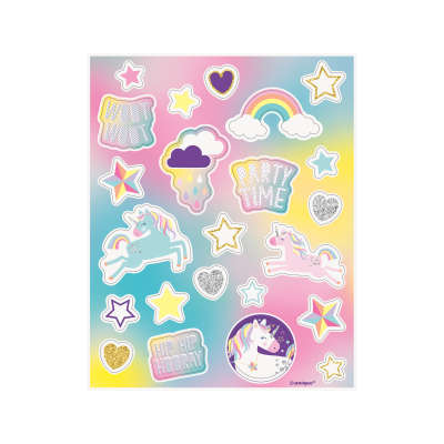 Unicorn Birthday Party Sticker Sheets 4ct