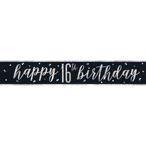 "Black & Silver Foil Banner ""Happy 16th Birthday"""