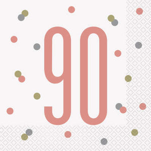 Rose Gold 90th Birthday Luncheon Napkins
