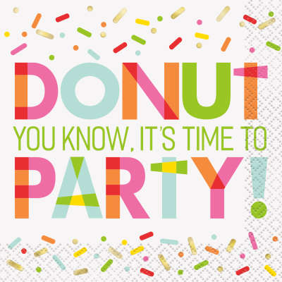 Donut Birthday Party Beverage Napkins 16ct