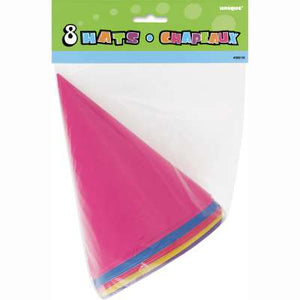 Paper Party Hats - Assorted Colors 8ct