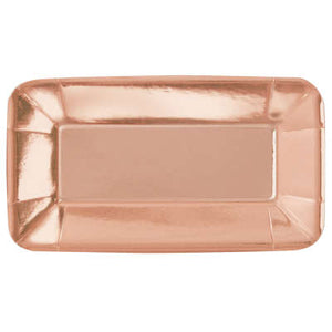 "Rose Gold Foil Rectangular 9""x5"" Appetizer Plates 8ct - Foil Board"