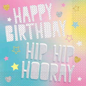 Unicorn Birthday Party Hip Hip Hooray Luncheon Napkins 16ct