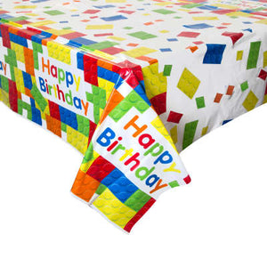"Building Blocks Birthday Rectangular Plastic Table Cover 54""x84"""