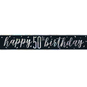 "Black & Silver Foil Banner ""Happy 50th Birthday"""