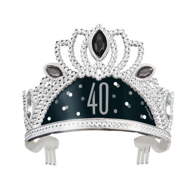 Black & Silver 40th Birthday Plastic Tiara