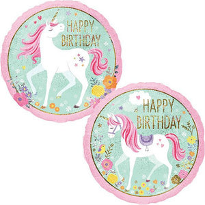 "Unicorn Birthday Party Foil Balloon 18"" Packaged"