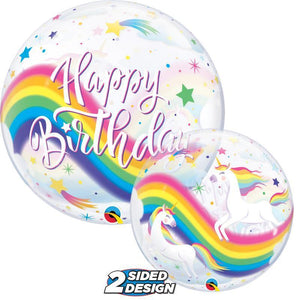 Unicorn Birthday Bubble Balloon Packaged