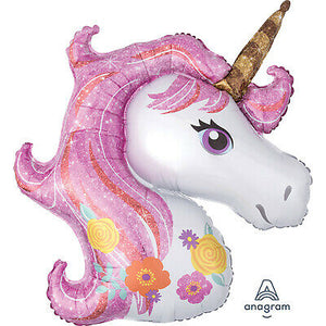 Magical Unicorn Birthday Party Supershape Foil Balloon Packaged