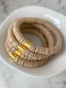 Tan Color Pop Bracelets - Set of 3