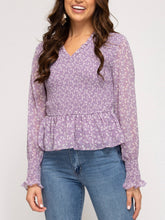 Load image into Gallery viewer, Misty Lilac Puff Sleeve Smocked Peplum Top