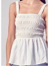 Load image into Gallery viewer, White Square Neck Smocked Top