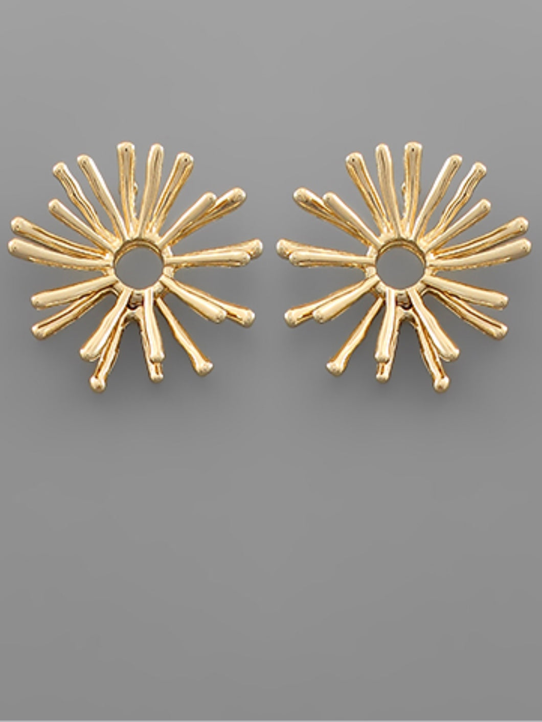 Gold Bar Circle Fan Earrings