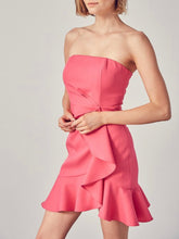 Load image into Gallery viewer, Hot Pink Strapless Ruffle Dress