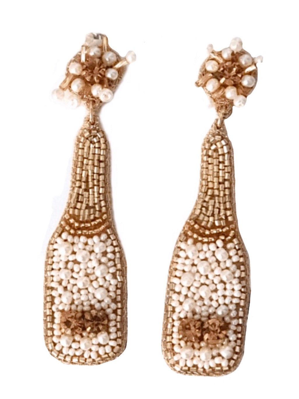 Champagne Earrings - Ivory & Pearl