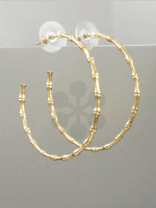Gold Bamboo Open Hoops