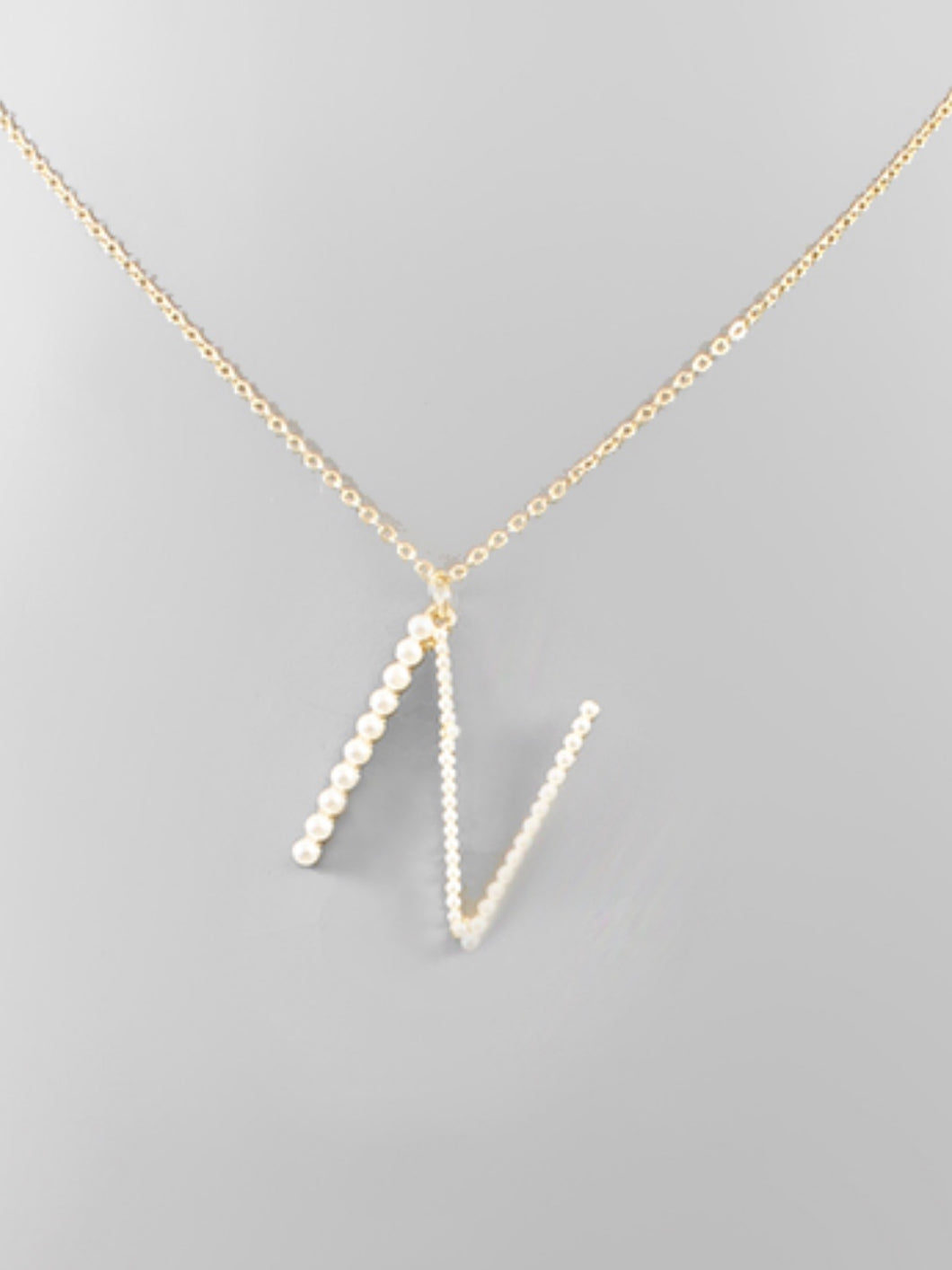"""N"" Pearl Initial Necklace"