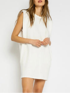 White Muscle Sleeve Tank Dress
