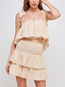 Taupe Smocked Ruffle Tier Skirt