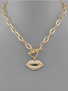 Crystal Lip Chain Necklace