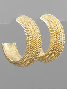 Gold Snake Chain Textured Hoops