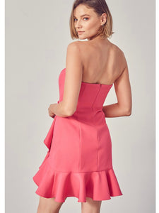 Hot Pink Strapless Ruffle Dress