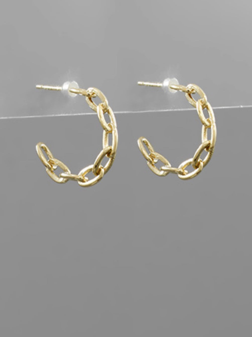 Gold Brass Chain Hoops
