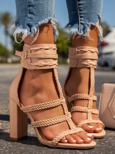 Nude Braided Ankle Strap Heel