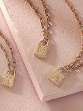 "Load image into Gallery viewer, ""T"" Initial Gold Padlock Necklace"