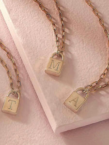 """T"" Initial Gold Padlock Necklace"