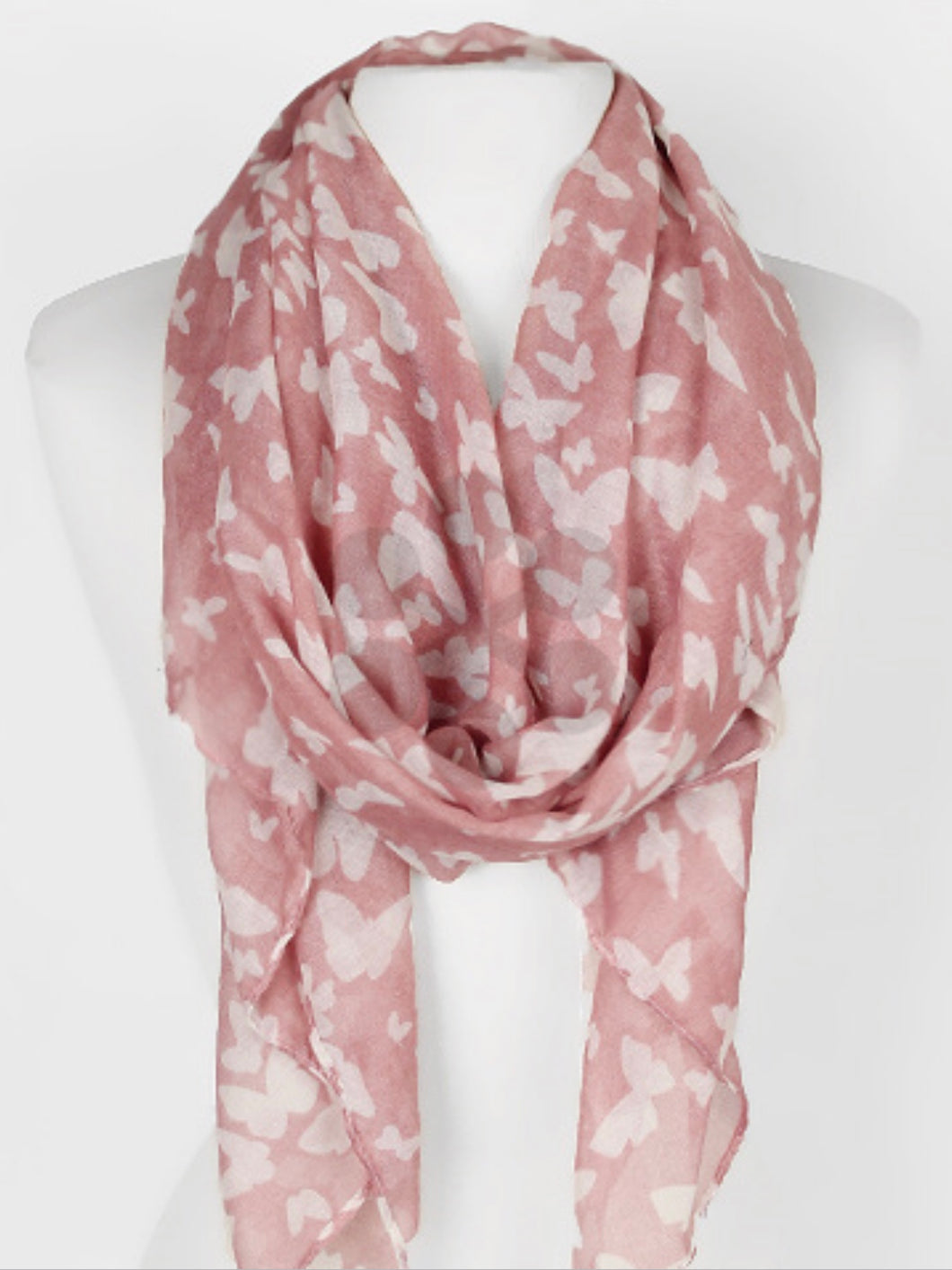 Pink Butterfly Print Scarf