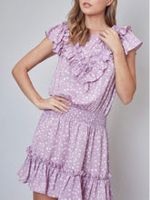 Load image into Gallery viewer, Dusty Lavender Dot Ruffle Dress