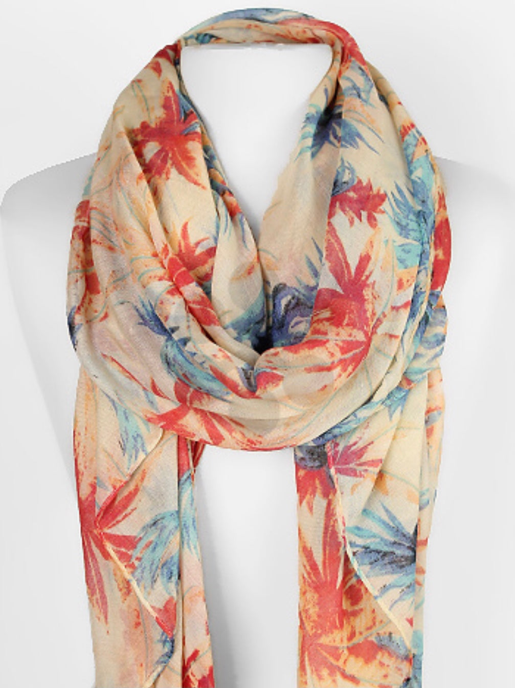 Ivory, Red & Blue Plant Scarf