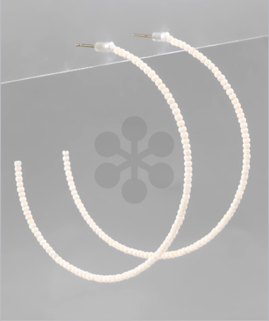 White 60MM Seed Bead Open Hoops