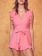 Load image into Gallery viewer, Doll Pink Ruffle Hem Romper