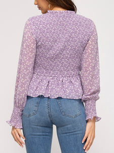 Misty Lilac Puff Sleeve Smocked Peplum Top