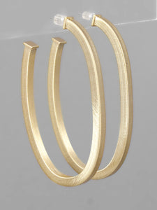Worn Gold Oval Open Hoops