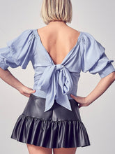 Load image into Gallery viewer, Whisper Blue Puff Sleeve Tie Back Top