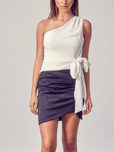 White One Shoulder Side Tie Top